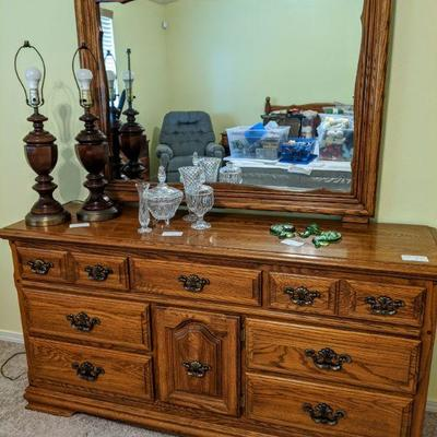 Oak dresser w/mirror solid wood construction - made by Cal Shops 64