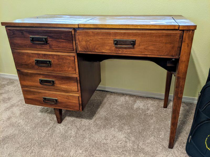 """Mid-century modern design sewing machine cabinet 41.75"""" wide 19"""" deep 30"""" high $125.00"""