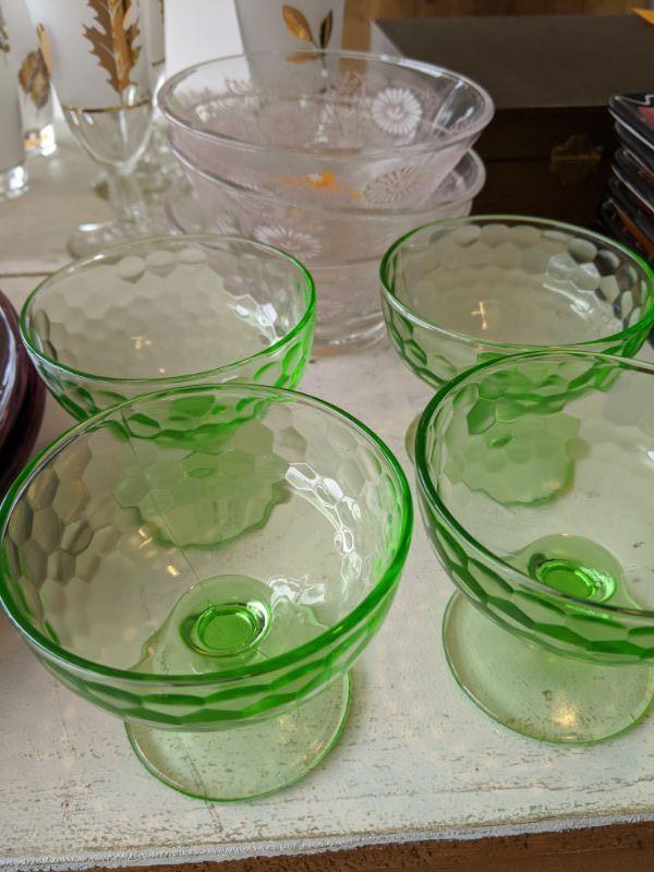 Bundle of vintage glassware 4 green Depression era sherbet dishes 3 daisy bowls $20.00
