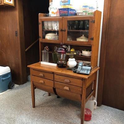 Antique oak bakers cabinet
