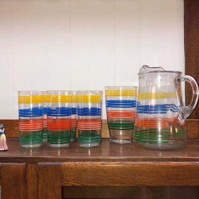 Mid century pitcher and glass set