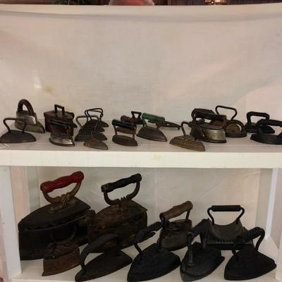 Part of large Sad Iron collection.  Top row are minitures