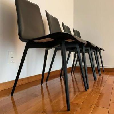 Room and Boad Hirsch Leather Dining Chairs, Set of Four. Find the FULL LISTING, Prices and MAKE AN OFFER, on our website,...