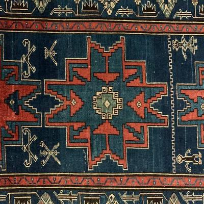 Northeast Caucasian, Circa 1900, Lesghi Star Area Rug. Find the FULL LISTING, Prices and MAKE AN OFFER, on our website,...