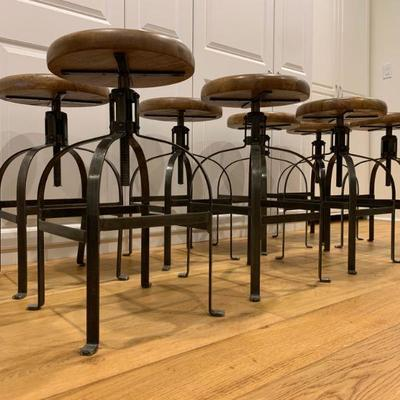 Pottery Barn Industrial Style Adjustable Height Stools, Set of Eight. Find the FULL LISTING, Prices and MAKE AN OFFER, on our website,...