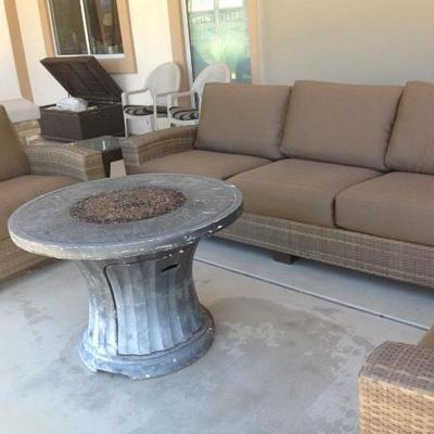 Sofa, 2 chairs, 2 side tables and Fire pit $325