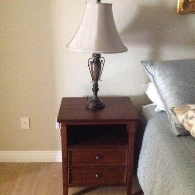 Pair of night tables, pair of lamps