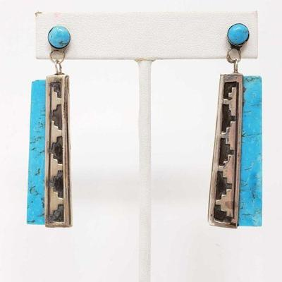 180  Sterling Silver Turquoise Dangle Earrings, 121g Weighs Approx 121g
