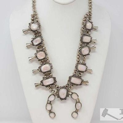 225 Old Pawn Vintage Sterling Silver and Mother of Pearl Squash Blossom Necklace. Value $1500.00 Old Pawn  Mother of Pearl Sterling...
