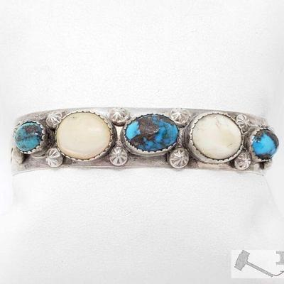 Value $1199.00 This is an exquisite vintage Navajo Native American jewelry Native American jewelry very rare silver bracelet. This piece...