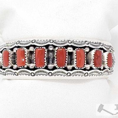 202 Impressive Vintage Navajo Coral Sterling Silver Bracelet Old Native American. 202  Impressive Vintage Navajo Coral Sterling Silver...