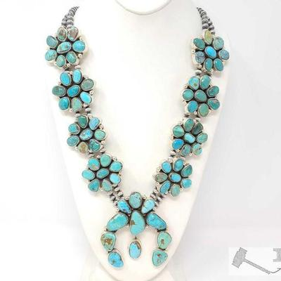 220 LARGE Navajo Sterling Silver Turquoise Cluster Squash Blossom Necklace. C Yazzie. Value $3500.00 Navajo Sterling Silver Turquoise...