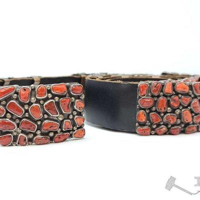 230 Old Pawn RARE Sterling Silver And Blood Red Coral Cluster Block Concho Belt, 318.1g. Value $4500.00 This Rare Old Pawn concho belt...