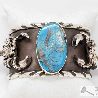 200:  San Felipe Jacob Troncosa Sterling Silver Cuff Bracelet With Turquoise Value $2500.00 This is a magnificent Native American silver...
