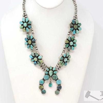 223 Gorgeous Turquoise Cluster Squash Blossom Sterling Silver Necklace. Value $1500.00 Navajo green and blue turquoise stones and...