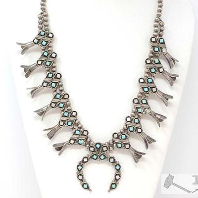 226 VTG Native American Zuni Elliot Gasper Silver Squash Blossom Naja Necklace Beads. Value $1500.00 VTG Native American Zuni Elliot...