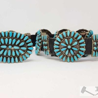 228 ...Zuni Pettit point...Vintage Native American Concho Belt Sterling Silver and Turquoise signed P Jo. Value $3750.00  Vintage Native...