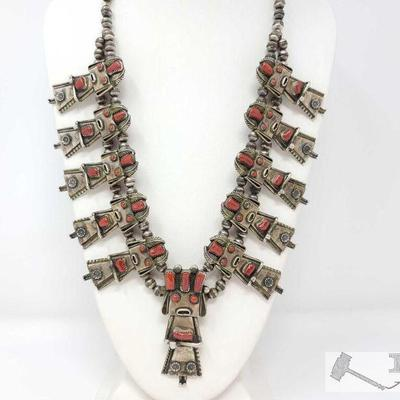 224 NAVAJO CORN MAIDEN KACHINA SQUASH BLOSSOM NECKLACE. Value $4500.00 THIS NECKLACE IS AN INCREDIBLE AESTHETIC TOUR DE FORCE AND IS...
