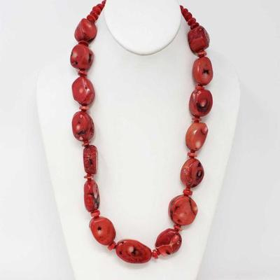 84  Coral Necklace, 7.9oz Weighs Approx 7.9oz. Measures Approx