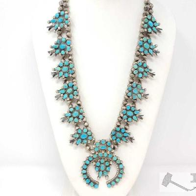 222: TURQUOISE PETIT POINT SQUASH BLOSSOM NECKLACE. Value $2500.00 Vintage 1970's Navajo Sterling Silver Petit Point Turquoise and...