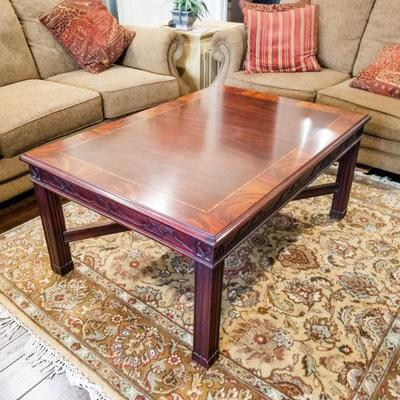 Henkel Harris Chippendale Mahogany coffee table. Does have a few minor scratches as pictured. Available by private appointment.  46