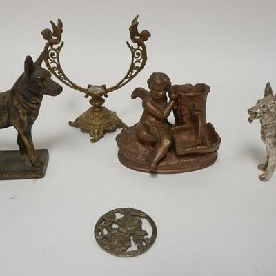1007COLLECTION OF CAST METAL PCS, DOGS, CHERUB BY A WELL, ETC