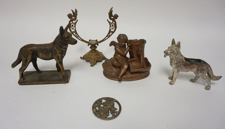 1007	COLLECTION OF CAST METAL PCS, DOGS, CHERUB BY A WELL, ETC