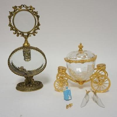 1015LOT OF VANITY PERFUME BOTTLE AND CINDERELLA GLASS COACH