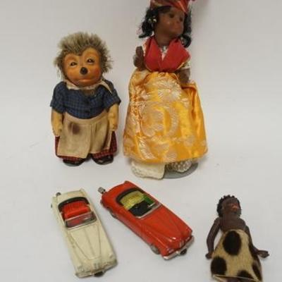1011LOT OF VINTAGE DOLLS AND SCHUCO TOY CARS