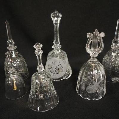 1002LOT OF 6 CLEAR GLASS BELLS
