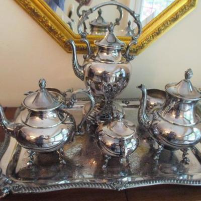 Poole Silver Company Silver On Copper Tea Service and More Silver & Silverplate
