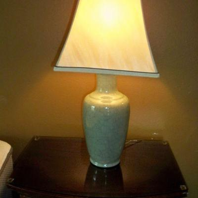 Pair of Celadon Color Crackle Table lamps.