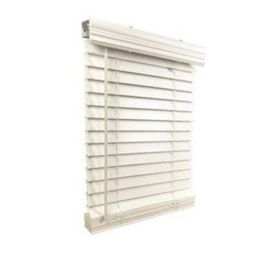 2 Cordless Faux Wood Blind 44.5 W x 48 H, Inside Mount