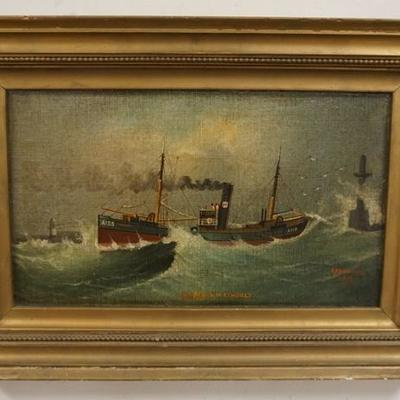 1012	OIL ON CANVAS SIGNED A HARWOOD, 1913 OF THE SS MARY WETHERBY, IMAGE 12 1/4 IN X 8 IN
