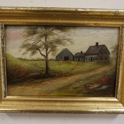 1009	SMALL OIL ON BOARD LANDSCAPE ATTRIBUTED TO WINIFRED GETCHELL CIRCA 1910, A MAINE FARMSTEAD, IMAGE 8 IN X 5 1/2 IN