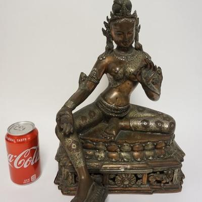 1002	ANTIQUE MIXED METAL TEMPLE GOD, 11 IN WIDE X 16 IN HIGH