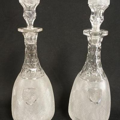 1013	PAIR OF EXCEPTIONAL BLOWN & CUT DECANTERS W/HOLLOW BLOWN STOPERS AND FINE HONEYCOMB & CROSSHATCH CUTTING, EACH HAS A MONOGRAMMED...