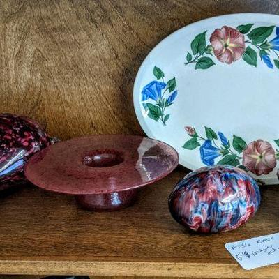 RA-156 Collection - vintage platter, glass egg, covered pottery dish, vase $40.00/all