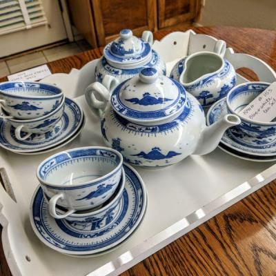 RA-153 blue & white tea set with white wood tray, teapot, creamer, sugar, (6) cups, (6) saucers $65.00/all