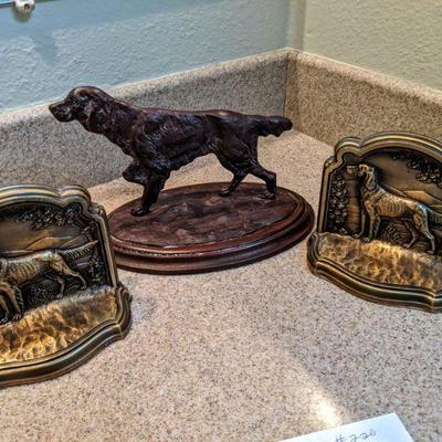 RA-220 Cast Metal pointer dog standing (2) brass pointer dog bookends $45.00/all