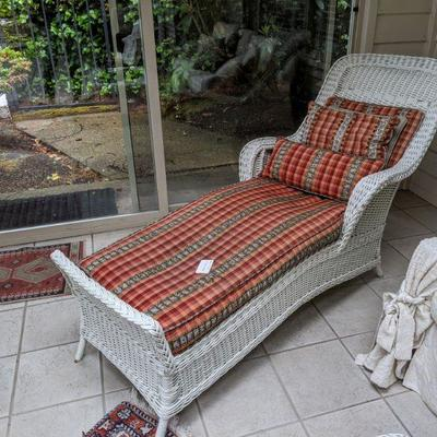 RA-143 (view 2 of 2) Vintage Wicker chaise Lounge with custom upholstered cushions $225.00
