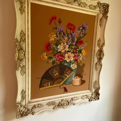 Beautiful Hand Made Embroidery Floral, Ornate Frame