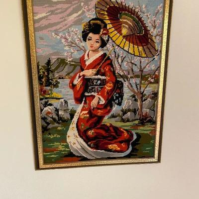 Stunning Hand Made Embroidery Geisha/Framed