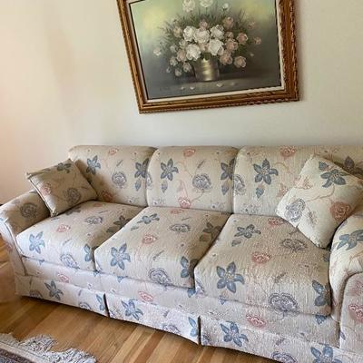 Vintage Heritage Furniture, Silk Brocade Sofa, Has Matching Love Seat.
