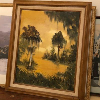 https://www.ebay.com/itm/124224121815	RG2111: Swamp Oil on Canvas Framed Local Pickup at Estate Sale