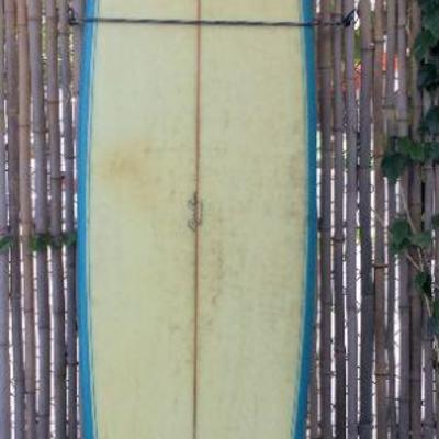BAS029-Ben Aipa Designed 8' Red and White Sting Swallow Tail Surfboard
