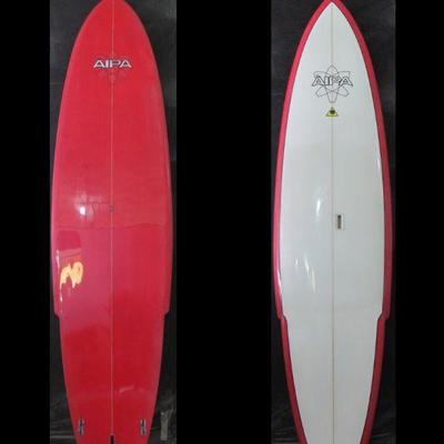 BAS067-Ben Aipa 12' Red/White Sting Swallow Tail Surfboard
