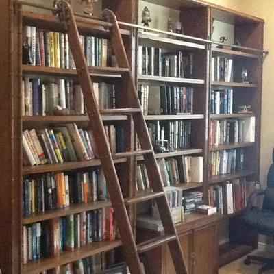 Book cases and rolling ladder for sale
