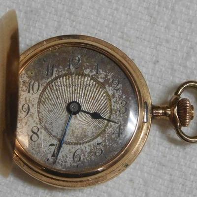 14 k Union Hord Gere Ladies Pocket Watch- Runs Great