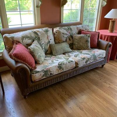 Leather and Upholstered Laguna Chaps Sofa $575